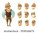 colored emotions man icon set... | Shutterstock .eps vector #555018673