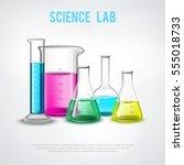 laboratory stuff composition... | Shutterstock .eps vector #555018733