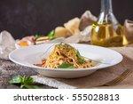 pasta carbonara on white plate...   Shutterstock . vector #555028813
