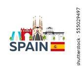 travel to spain skyline. vector ... | Shutterstock .eps vector #555029497