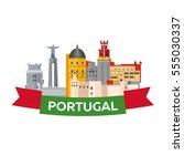 travel to portugal skyline.... | Shutterstock .eps vector #555030337