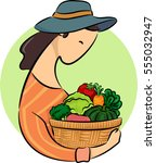 illustration featuring a woman... | Shutterstock .eps vector #555032947