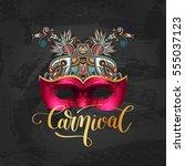 3d venetian carnival mask... | Shutterstock .eps vector #555037123