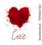 watercolor painted vector red... | Shutterstock .eps vector #555042763