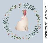 vintage rabbit in floral wreath ... | Shutterstock .eps vector #555049897