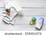 preparation of mixture baby... | Shutterstock . vector #555051373