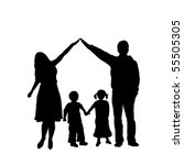 caring family silhouette | Shutterstock .eps vector #55505305