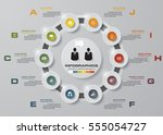 abstract 10 steps infographis... | Shutterstock .eps vector #555054727