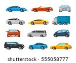 colorful vehicles collection... | Shutterstock .eps vector #555058777