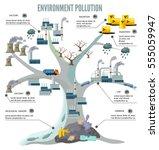 cartoon tree ecology... | Shutterstock .eps vector #555059947