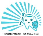 flat cute tooth character... | Shutterstock .eps vector #555062413