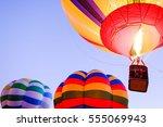 hot air balloon in front of sky | Shutterstock . vector #555069943
