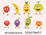 eight funny colorful fruits... | Shutterstock .eps vector #555078457