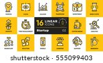 vector set of linear icons for... | Shutterstock .eps vector #555099403
