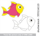 pink fish to be traced only of... | Shutterstock .eps vector #555116113