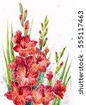 watercolor painting  flowers | Shutterstock . vector #555117463