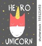 hero unicorn vector... | Shutterstock .eps vector #555121453