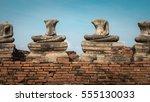 damaged ancient buddha at...   Shutterstock . vector #555130033