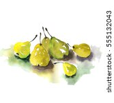 painted pears  | Shutterstock . vector #555132043