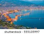 ariel view of alanya harbor... | Shutterstock . vector #555135997