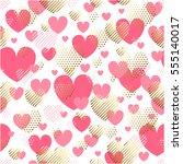 valentines day seamless modern... | Shutterstock .eps vector #555140017