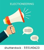 electioneering flat style... | Shutterstock .eps vector #555140623