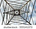 power lines tower seen from... | Shutterstock . vector #555141373