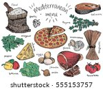 mediterranean menu  flour ... | Shutterstock .eps vector #555153757
