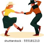 couple dancing country western  ... | Shutterstock .eps vector #555181213