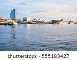 port vell at sunset. beautiful... | Shutterstock . vector #555183427