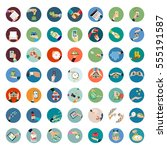 flat design of hand icons set.... | Shutterstock .eps vector #555191587