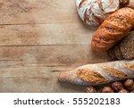 gluten free bread on wooden...   Shutterstock . vector #555202183