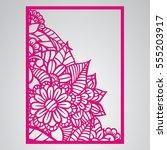 die cut card. laser cut vector... | Shutterstock .eps vector #555203917
