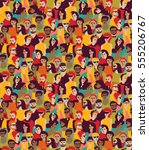 Big crowd happy people color seamless pattern. Color illustration.