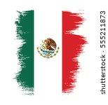 flag of mexico  brush stroke... | Shutterstock .eps vector #555211873