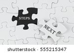 business concept   white puzzle ... | Shutterstock . vector #555215347