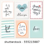 valentine's greeting cards with ... | Shutterstock .eps vector #555215887