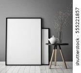mock up poster frame in hipster ... | Shutterstock . vector #555221857