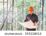 engineer architect construction ... | Shutterstock . vector #555228013