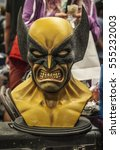 Small photo of LONDON, UNITED KINGDOM JULY 18: A close up of a bust of the character Wolverine from the X-Men film series on July 18 2015 at London Comicon.