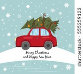 red car with christmas tree on... | Shutterstock . vector #555259123