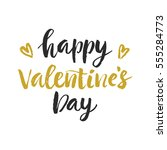 happy valentines day hand drawn ... | Shutterstock .eps vector #555284773