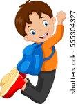 happy school boy jump with...   Shutterstock . vector #555304327