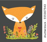 cute fox with heart. flowers.... | Shutterstock .eps vector #555307543