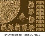 calendar fragment of ancient... | Shutterstock .eps vector #555307813