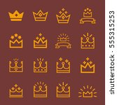 vector  crowns out line icons... | Shutterstock .eps vector #555315253