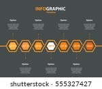 infogaphic timeline diagram.... | Shutterstock .eps vector #555327427