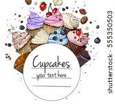 cupcakes line drawn on a white... | Shutterstock .eps vector #555350503