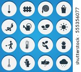 set of 16 editable garden icons....