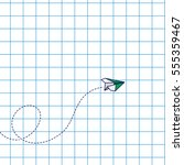 paper airplane loop airmail... | Shutterstock .eps vector #555359467